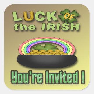Luck of the Irish Invitation envelope seal Square Sticker
