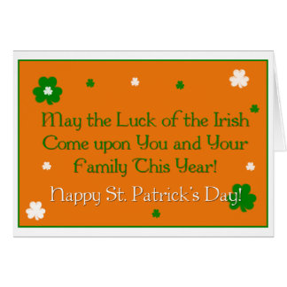 Luck of the Irish Proverb St. Patrick's Day Card