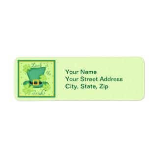 Luck of the Irish Return Address Stickers Return Address Label