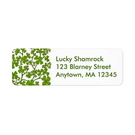 Luck of the Irish Shamrock Label Return Address Label