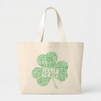 Luck of the Irish Shamrock Large Tote Bag