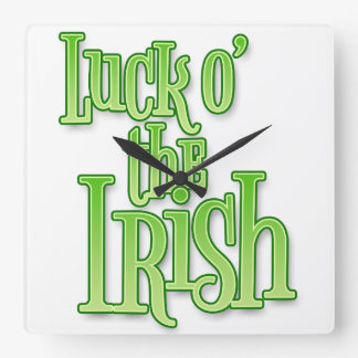 Luck of the Irish St Patrick's Day Square Wall Clock