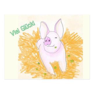 Luck pig postcard