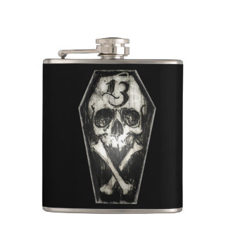 Lucky 13 Coffin Skull hip flask