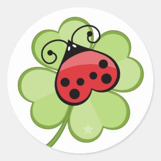 Lucky 4 Leaf Clover Ladybug Ladybird Cute Stickers