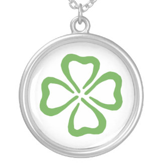Lucky 4 Leaf Clover Silver Plated Necklace