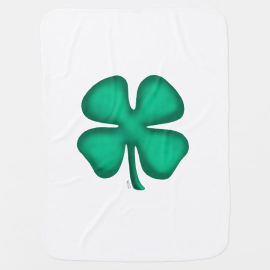 Lucky 4 Leaf Irish Clover baby blanket (2 side)