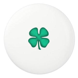 Lucky 4 Leaf Irish Clover ceramic knob sm clover