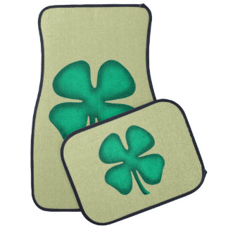 Lucky 4 Leaf Irish Clover front and rear car mats