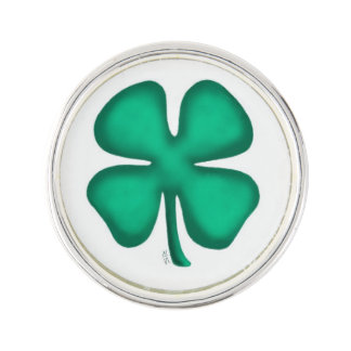 Lucky 4 Leaf Irish Clover lapel pin silver plated