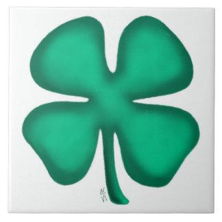 Lucky 4 Leaf Irish Clover large tile
