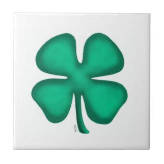 Lucky 4 Leaf Irish Clover small tile