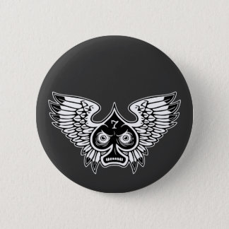 Lucky Angry Winged Spade #7 2 Inch Round Button
