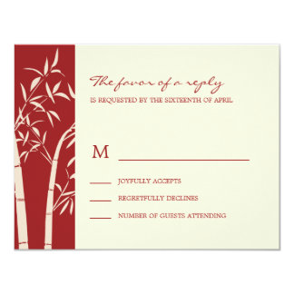 Lucky Bamboo Wedding RSVP Card - Red