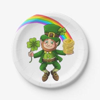 Lucky Bitcoin Rainbow Leprechaun Paper Plate