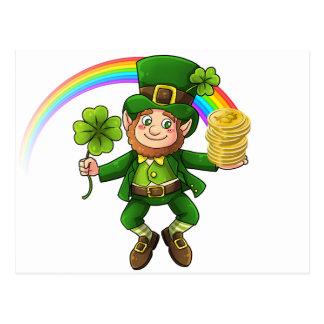 Lucky Bitcoin Rainbow Leprechaun Postcard
