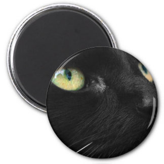Lucky Black Cat 2 Inch Round Magnet