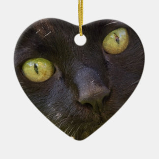 Lucky black cat ceramic ornament