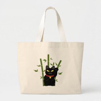 Lucky Black Cat Large Tote Bag
