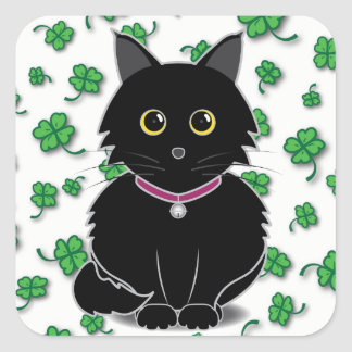 Lucky Black Cat Zelda Clover Sticker