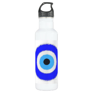 Lucky Blue Eye Custom Water Bottle (24 oz), White