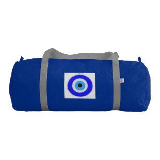 Lucky Blue Eye Duffle Gym Bag,Blue,Silver straps