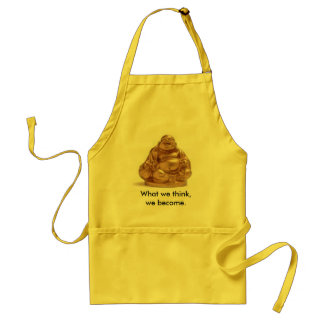 Lucky Buddha Apron with saying in Yellow