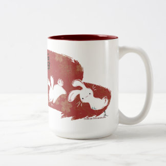 Lucky Bunnies Brushstroke Mug (Red)
