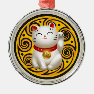 Lucky Cat Artwork Silver-Colored Round Ornament
