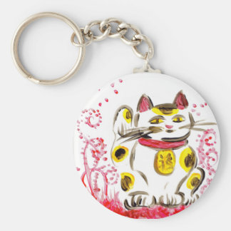 Lucky Cat Basic Round Button Keychain