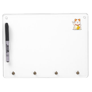 Lucky Cat (Makeni Neko) Dry Erase Board With Keychain Holder