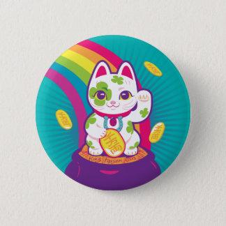 Lucky Cat Maneki Neko Good Luck Pot of Gold 2 Inch Round Button