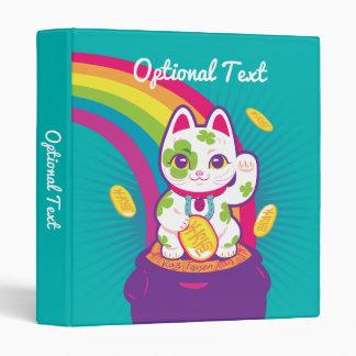 Lucky Cat Maneki Neko Good Luck Pot of Gold 3 Ring Binders