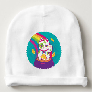 Lucky Cat Maneki Neko Good Luck Pot of Gold Baby Beanie