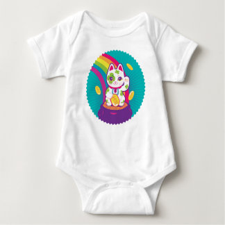 Lucky Cat Maneki Neko Good Luck Pot of Gold Baby Bodysuit