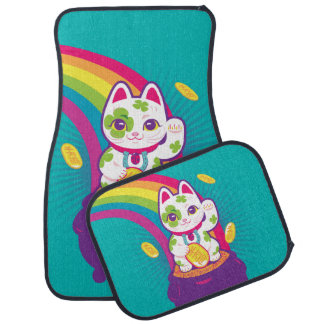 Lucky Cat Maneki Neko Good Luck Pot of Gold Car Mat