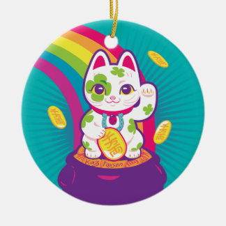 Lucky Cat Maneki Neko Good Luck Pot of Gold Ceramic Ornament