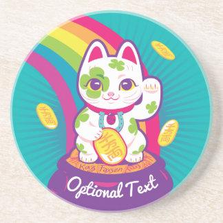 Lucky Cat Maneki Neko Good Luck Pot of Gold Coaster