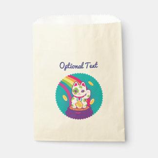 Lucky Cat Maneki Neko Good Luck Pot of Gold Favour Bag