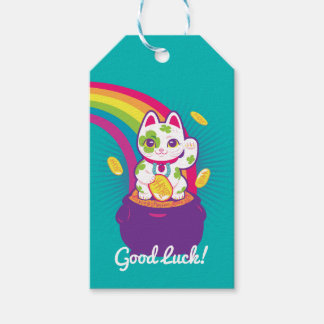 Lucky Cat Maneki Neko Good Luck Pot of Gold Gift Tags