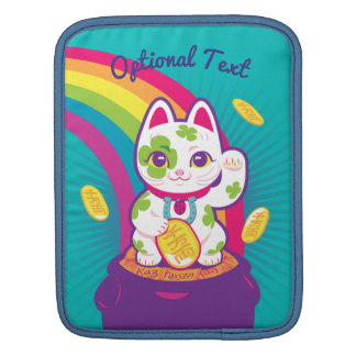 Lucky Cat Maneki Neko Good Luck Pot of Gold iPad Sleeve