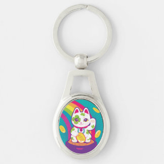 Lucky Cat Maneki Neko Good Luck Pot of Gold Keychain