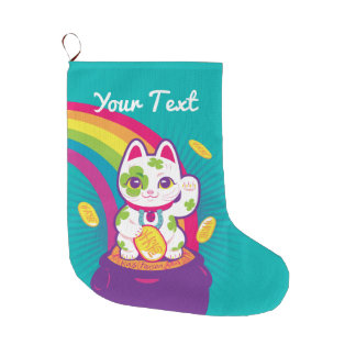 Lucky Cat Maneki Neko Good Luck Pot of Gold Large Christmas Stocking