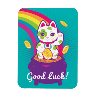 Lucky Cat Maneki Neko Good Luck Pot of Gold Magnet
