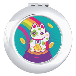 Lucky Cat Maneki Neko Good Luck Pot of Gold Makeup Mirror