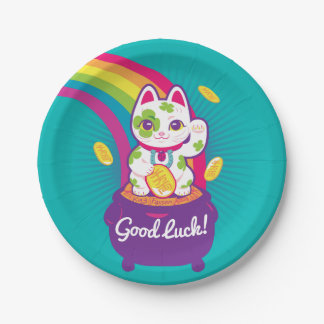 Lucky Cat Maneki Neko Good Luck Pot of Gold Paper Plate
