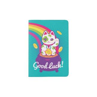 Lucky Cat Maneki Neko Good Luck Pot of Gold Passport Holder