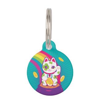 Lucky Cat Maneki Neko Good Luck Pot of Gold Pet Name Tag