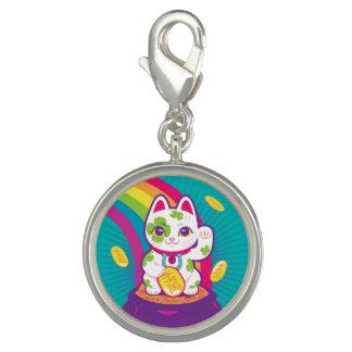 Lucky Cat Maneki Neko Good Luck Pot of Gold Photo Charm