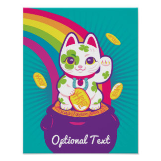Lucky Cat Maneki Neko Good Luck Pot of Gold Poster